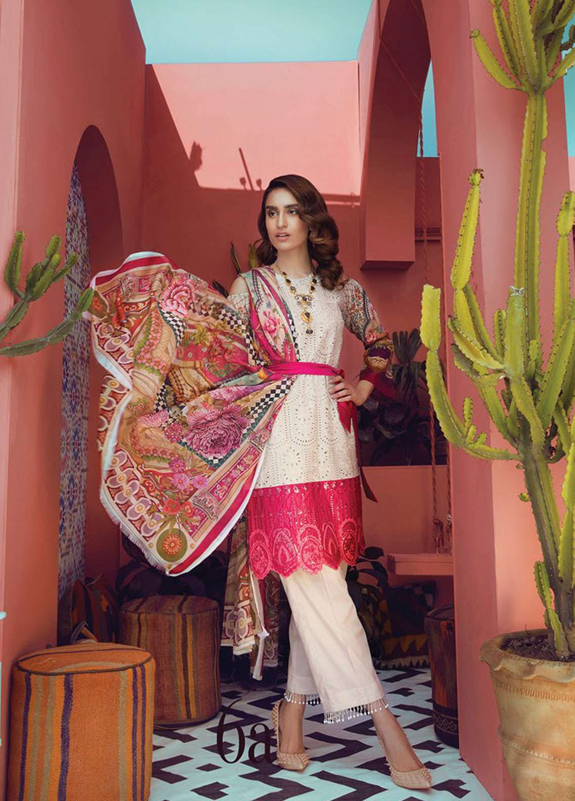 RajBari Embroidered Schiffli Unstitched 3 Piece Suit RB19L 3B - Spring / Summer Collection