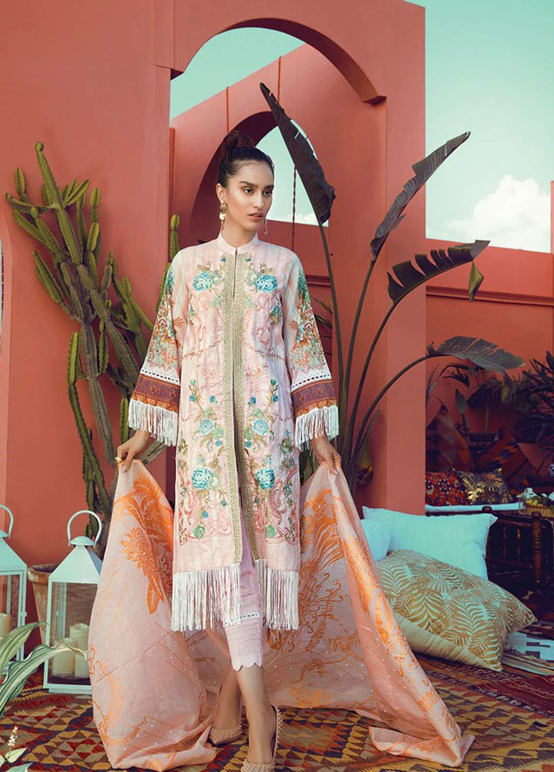 RajBari Embroidered Jacquard Unstitched 3 Piece Suit RB19L 5A - Spring / Summer Collection
