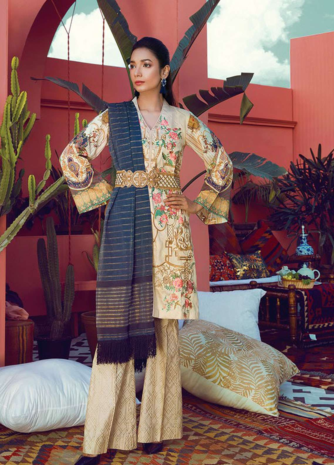 RajBari Embroidered Silk Net Unstitched 3 Piece Suit RB19L 8B - Spring / Summer Collection