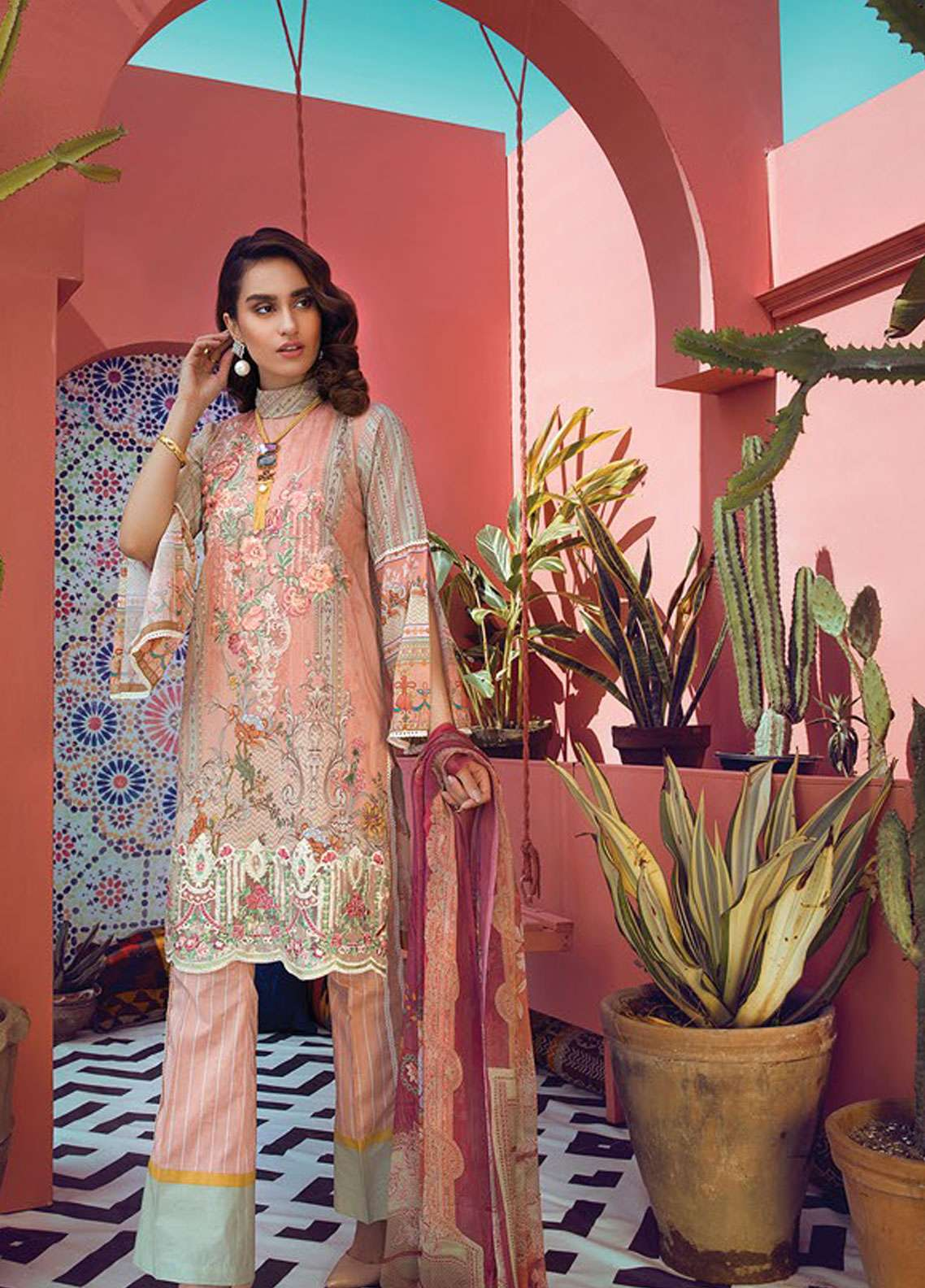 RajBari Embroidered Cotton Unstitched 3 Piece Suit RB19L 9A - Spring / Summer Collection