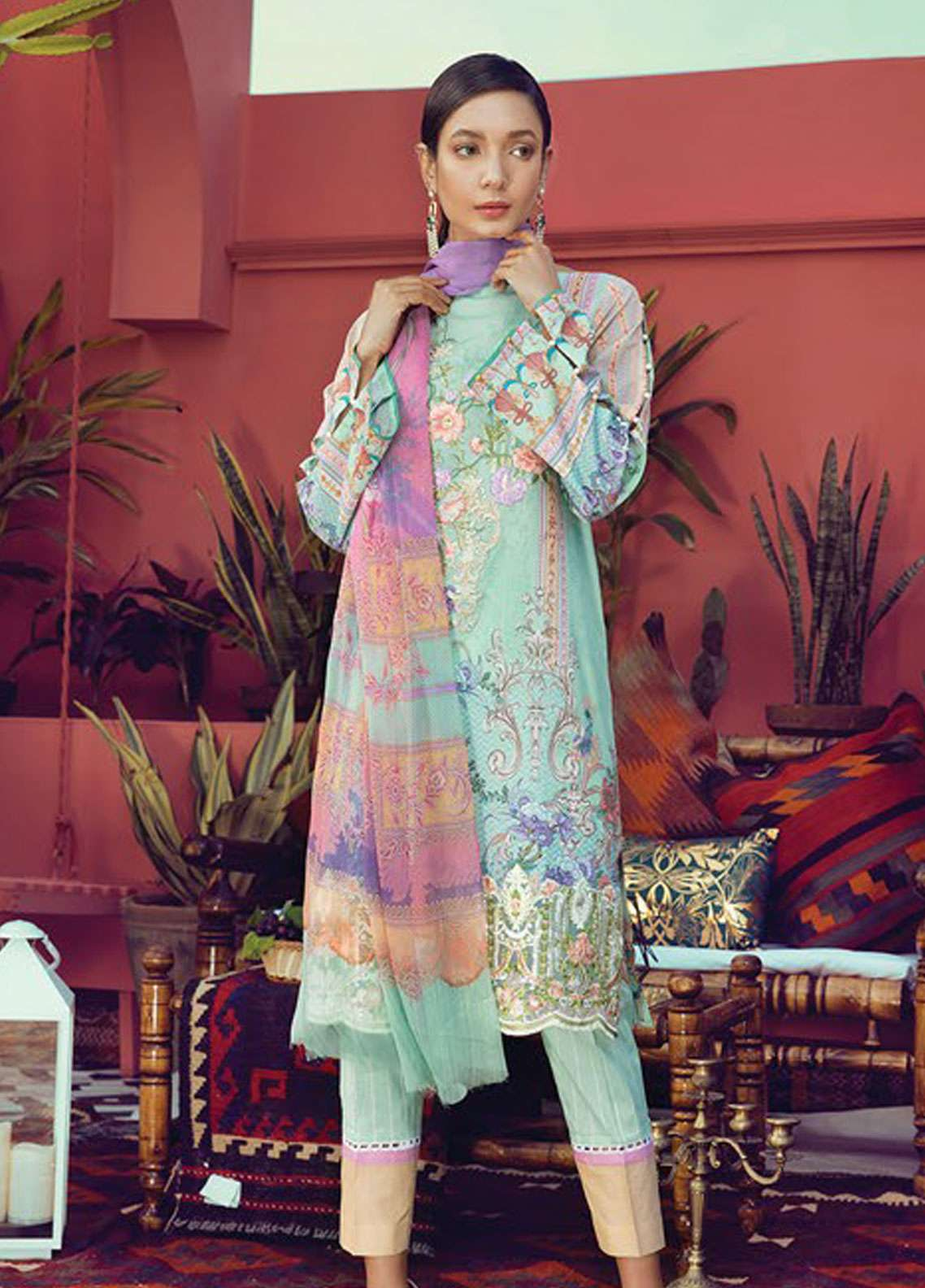 RajBari Embroidered Cotton Unstitched 3 Piece Suit RB19L 9B - Spring / Summer Collection
