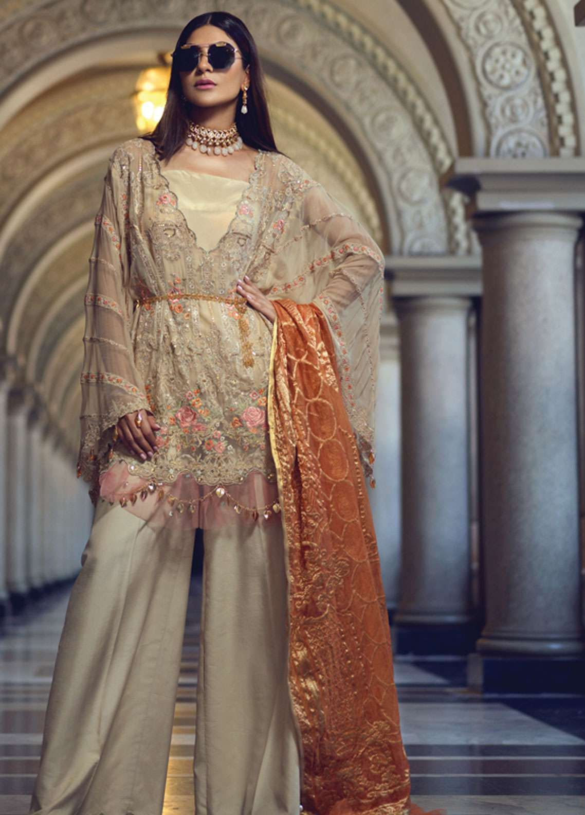 Rang Rasiya Embroidered Chiffon Unstitched 3 Piece Suit RR19E 5015 - Eid Collection