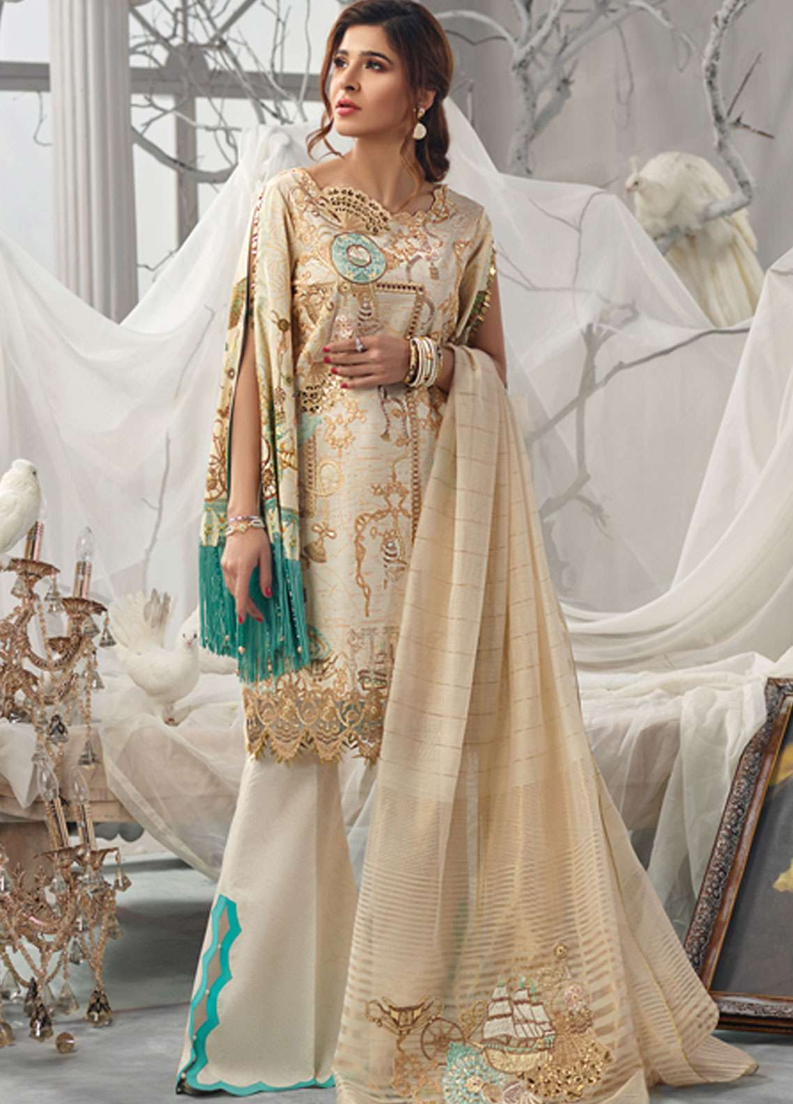 Rang Rasiya Embroidered Lawn Unstitched 3 Piece Suit RR19L 5001A - Spring / Summer Collection