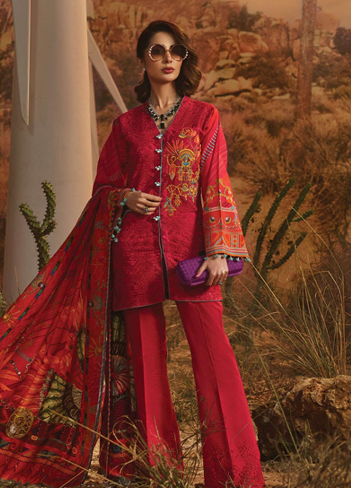 Rang Rasiya Embroidered Lawn Unstitched 3 Piece Suit RR19L 5005A - Spring / Summer Collection