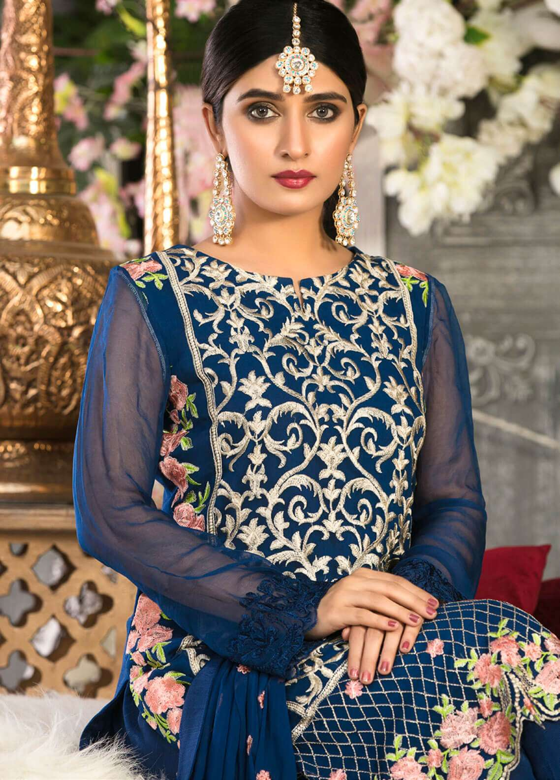Rani Manan Embroidered Chiffon Unstitched 3 Piece Suit RMA18C 01 - Luxury Collection