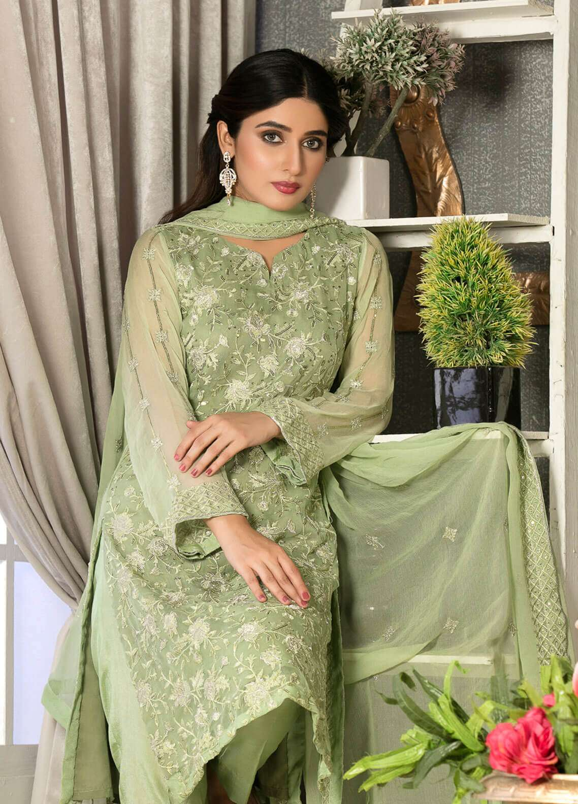 Rani Manan Embroidered Chiffon Unstitched 3 Piece Suit RMA18C 05 - Luxury Collection