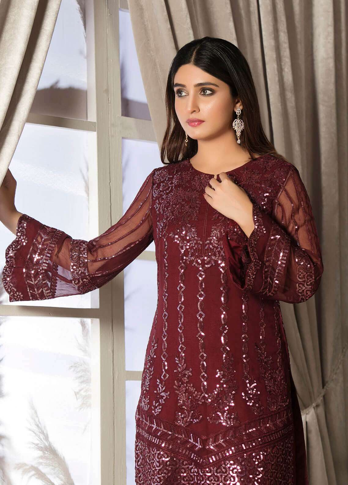 Rani Manan Embroidered Chiffon Unstitched 3 Piece Suit RMA18C 06 - Luxury Collection