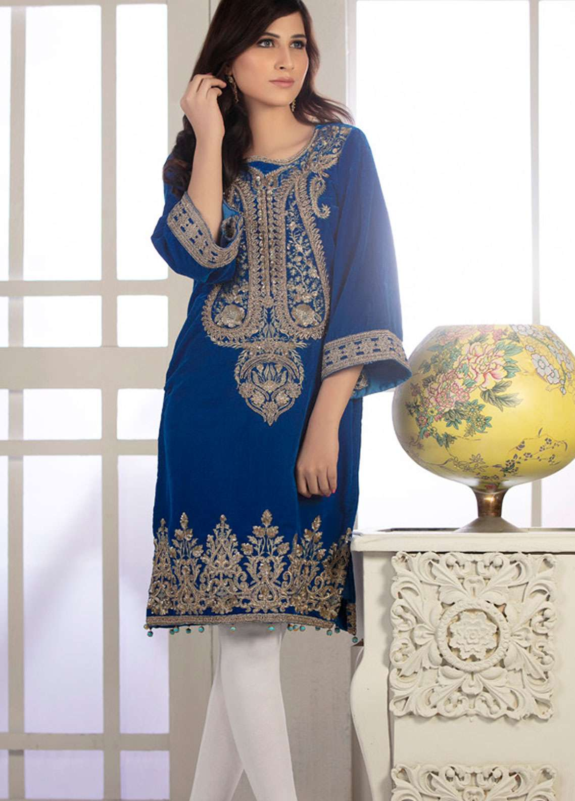 Rani Manan Embroidered Velvet Unstitched Kurties RM18-V2 02 - Winter Collection