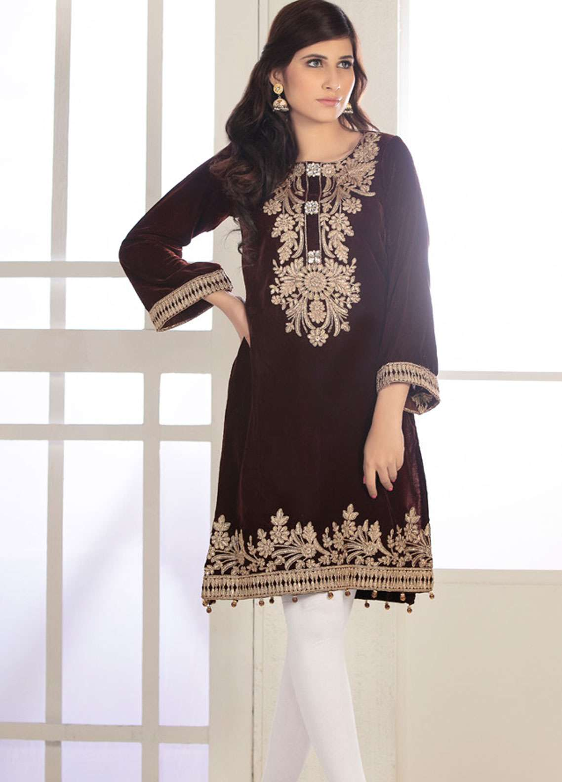 Rani Manan Embroidered Velvet Unstitched Kurties RM18-V2 03 - Winter Collection
