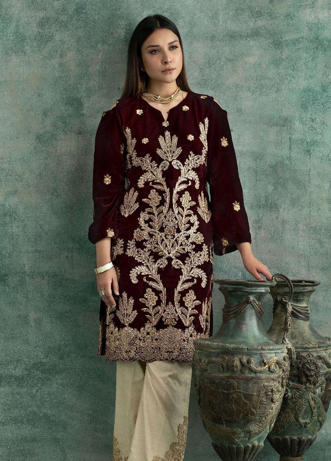 Rani Manan Embroidered Velvet Unstitched Kurties RM18-V3 04 - Winter Collection