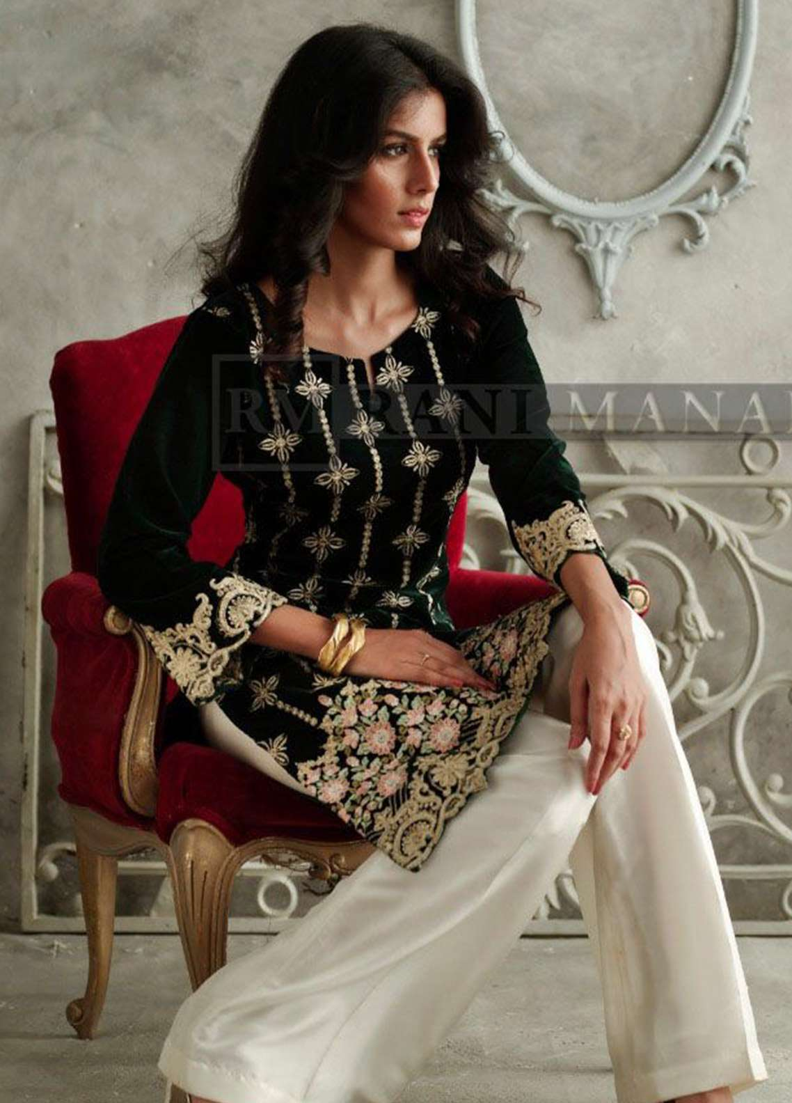 Rani Manan Embroidered Velvet Unstitched Kurties RM18V 04 - Luxury Collection