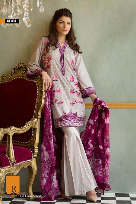Rabea By Shariq Textiles Embroidered Lawn Unstitched 3 Piece Suit RB17E 1A