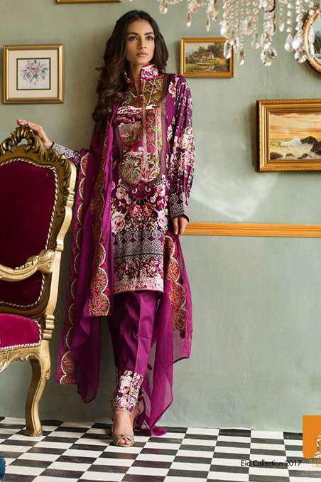 Rabea By Shariq Textiles Embroidered Lawn Unstitched 3 Piece Suit RB17E 2B