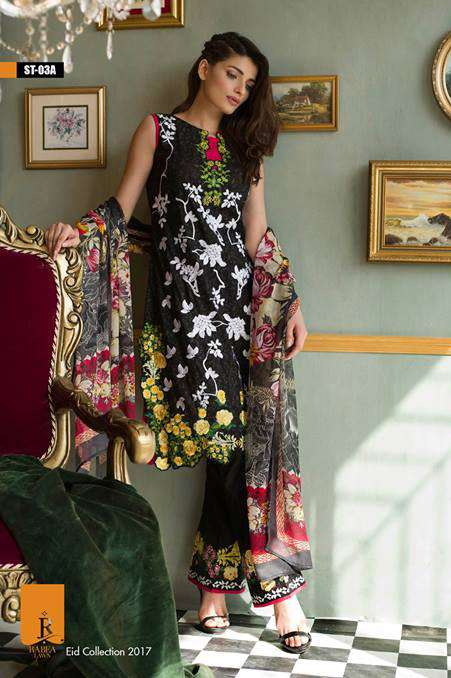 Rabea By Shariq Textiles Embroidered Lawn Unstitched 3 Piece Suit RB17E 3A