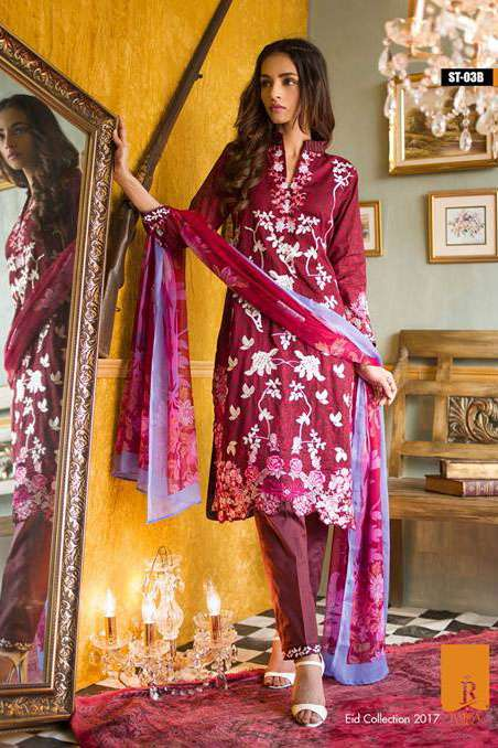 Rabea By Shariq Textiles Embroidered Lawn Unstitched 3 Piece Suit RB17E 3B