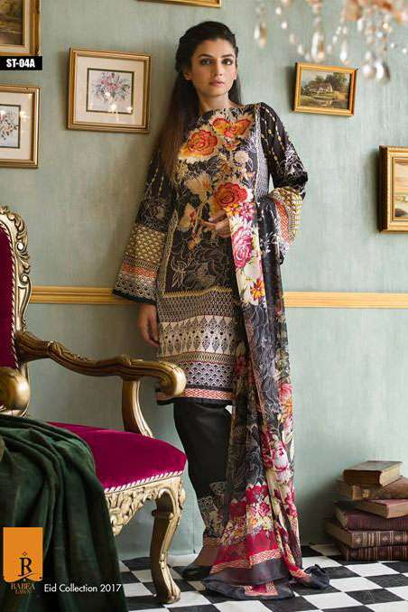 Rabea By Shariq Textiles Embroidered Lawn Unstitched 3 Piece Suit RB17E 4A