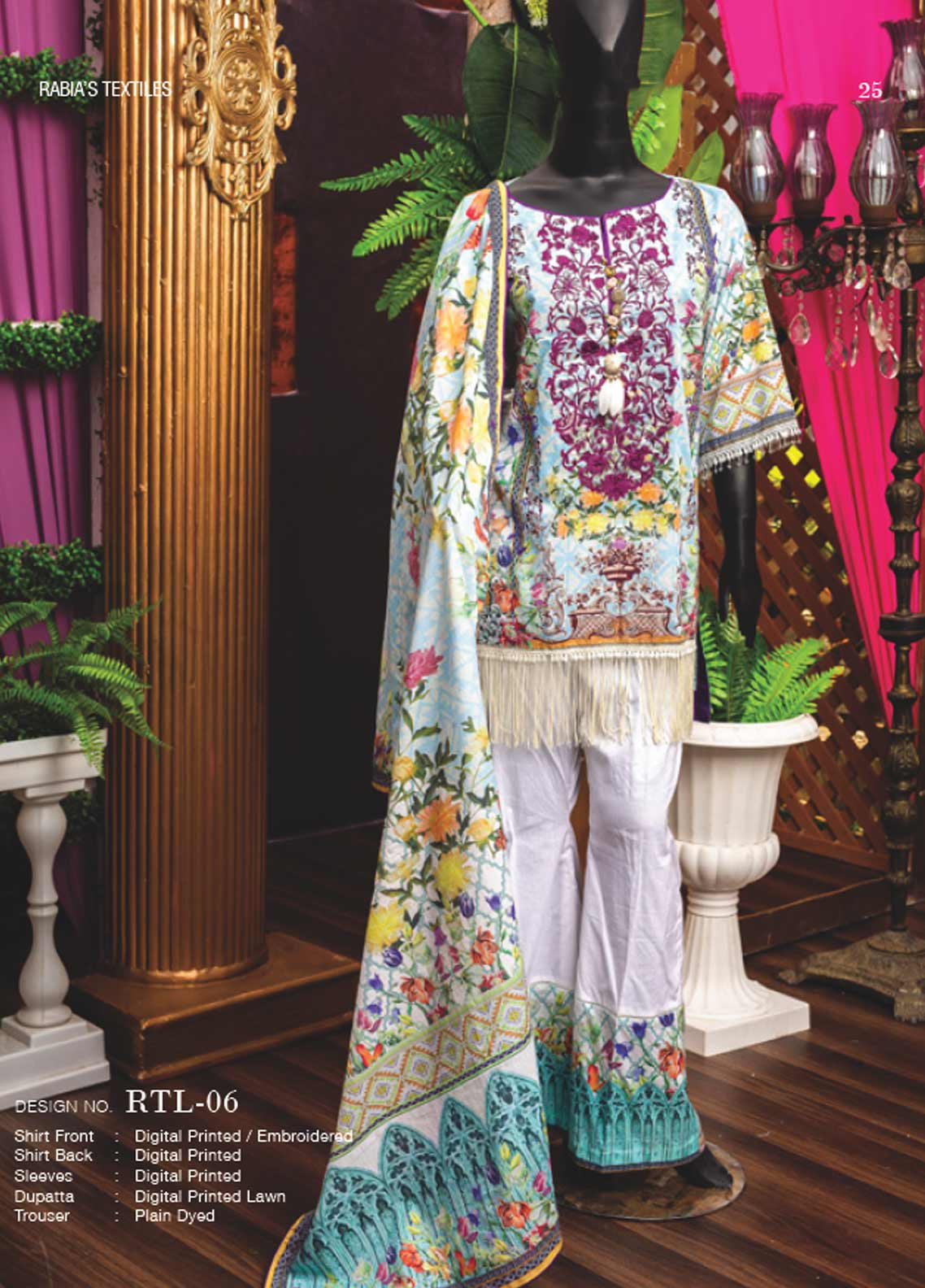 Rabia's Textiles Embroidered Lawn Unstitched 3 Piece Suit RBA18L 06 - Festive Collection