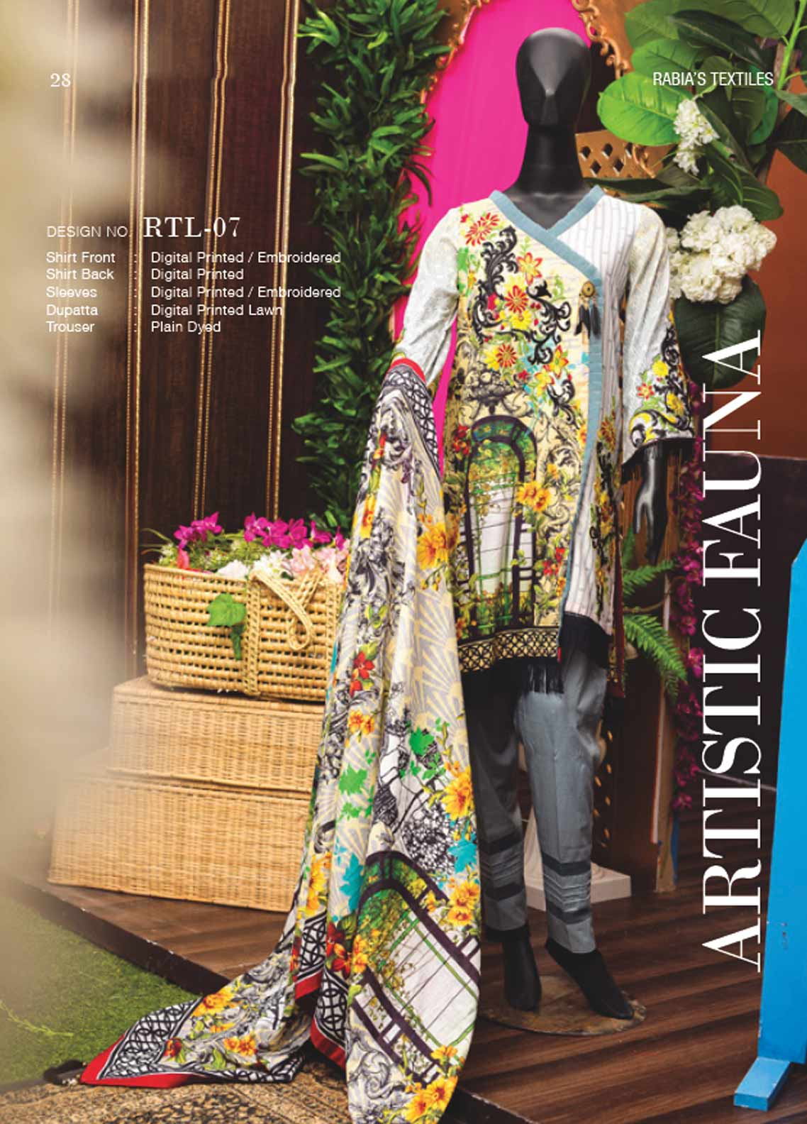 Rabia's Textiles Embroidered Lawn Unstitched 3 Piece Suit RBA18L 07 - Festive Collection