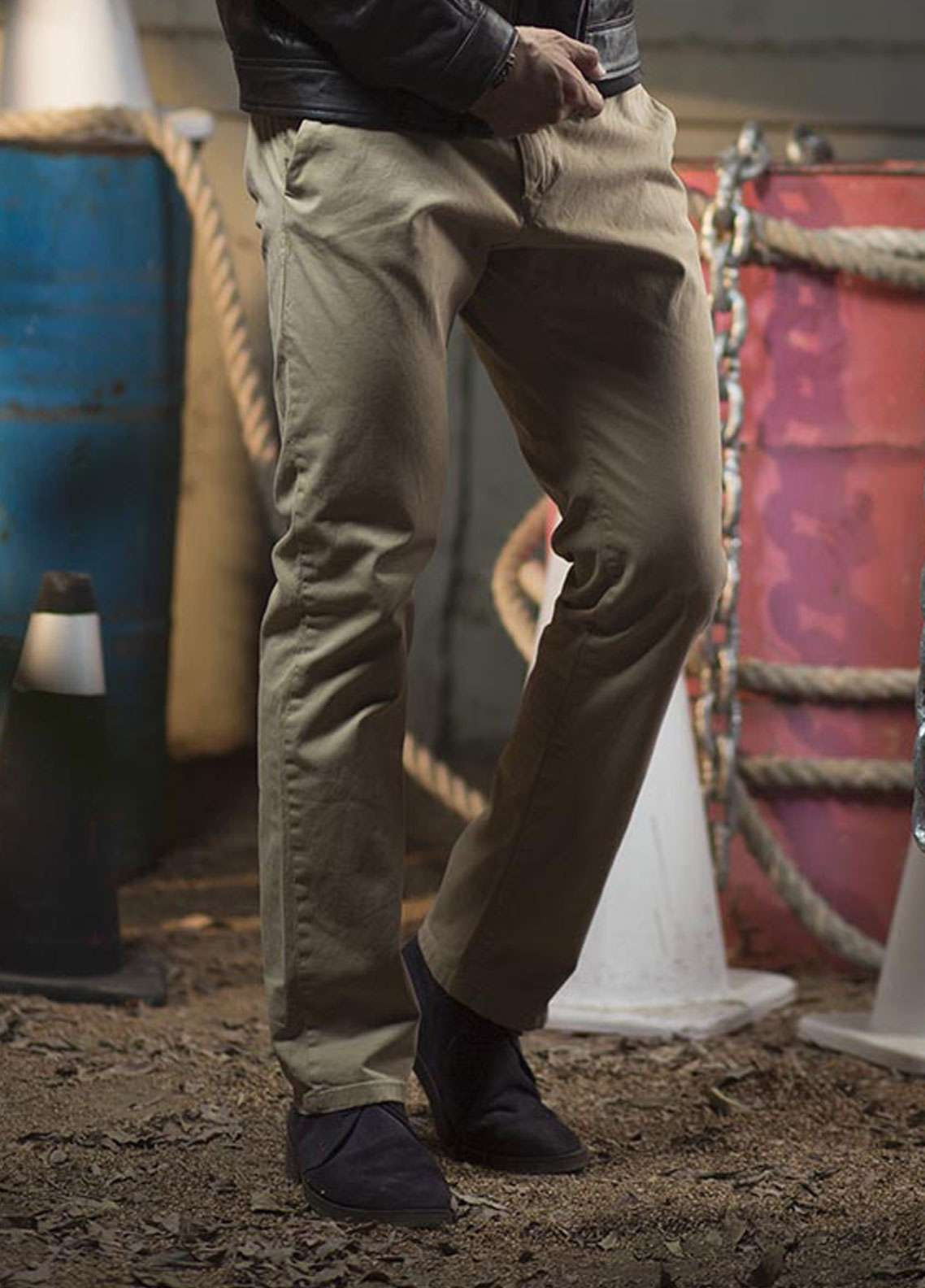 Red Tree Cotton Chino Pants for Men - Beige RT5003
