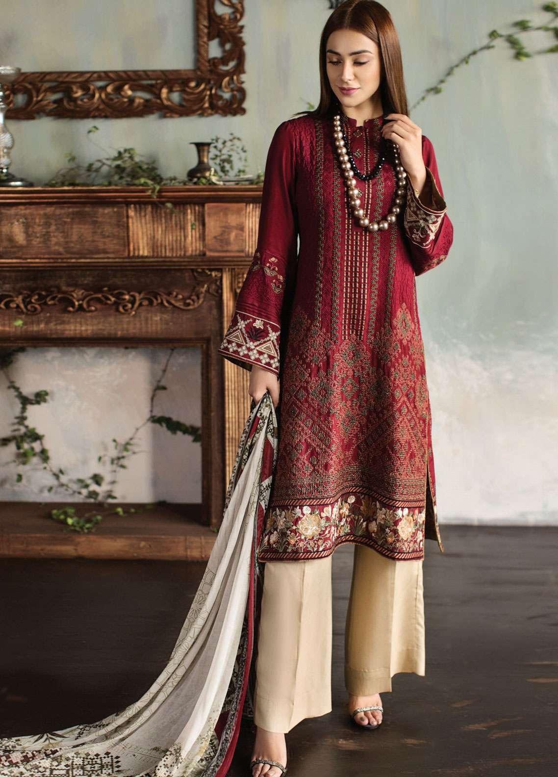 Resham Ghar Embroidered Silk Unstitched 3 Piece Suit RG18DS 04 - Luxury Collection