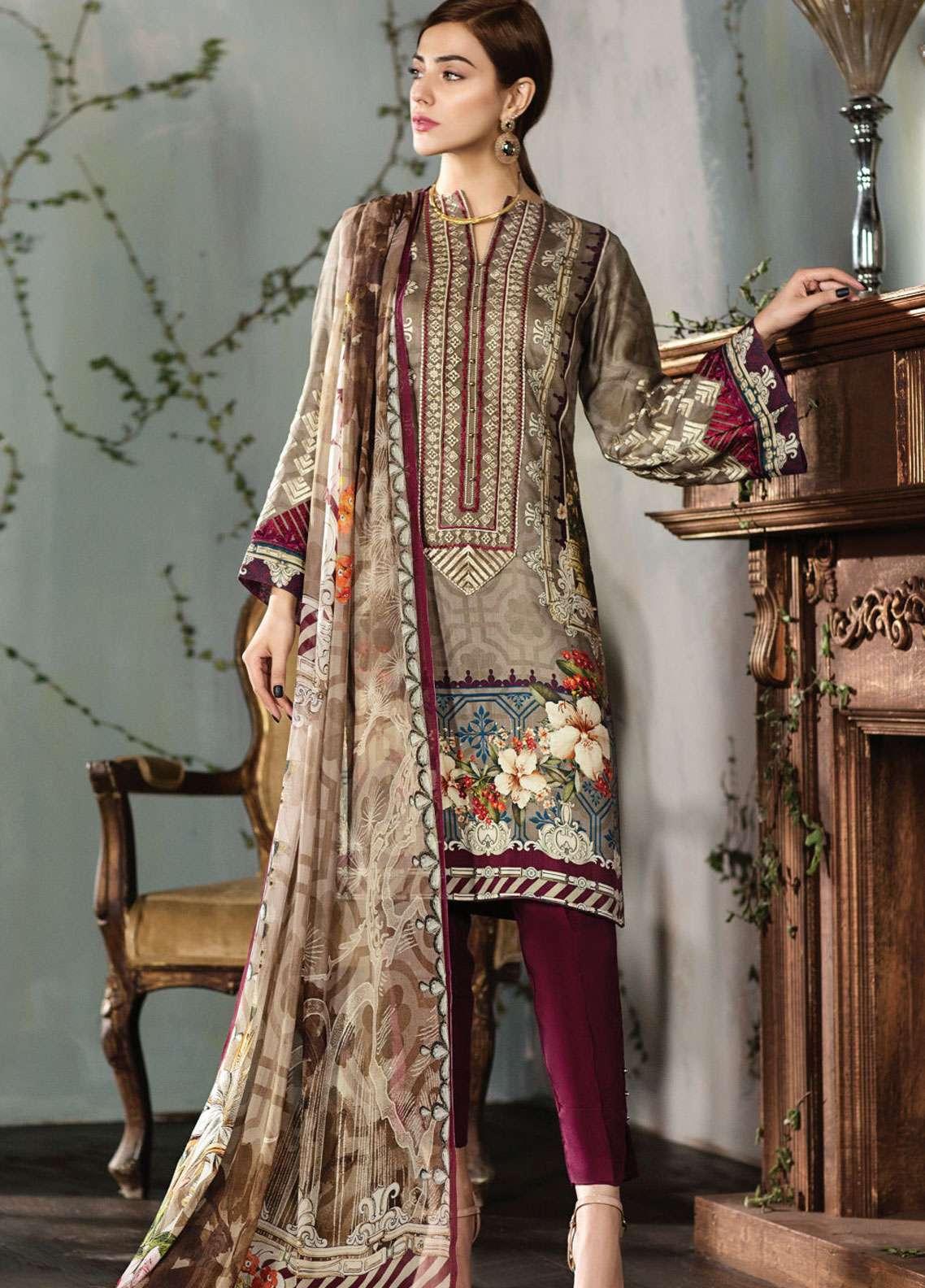 Resham Ghar Embroidered Silk Unstitched 3 Piece Suit RG18DS 06 - Luxury Collection