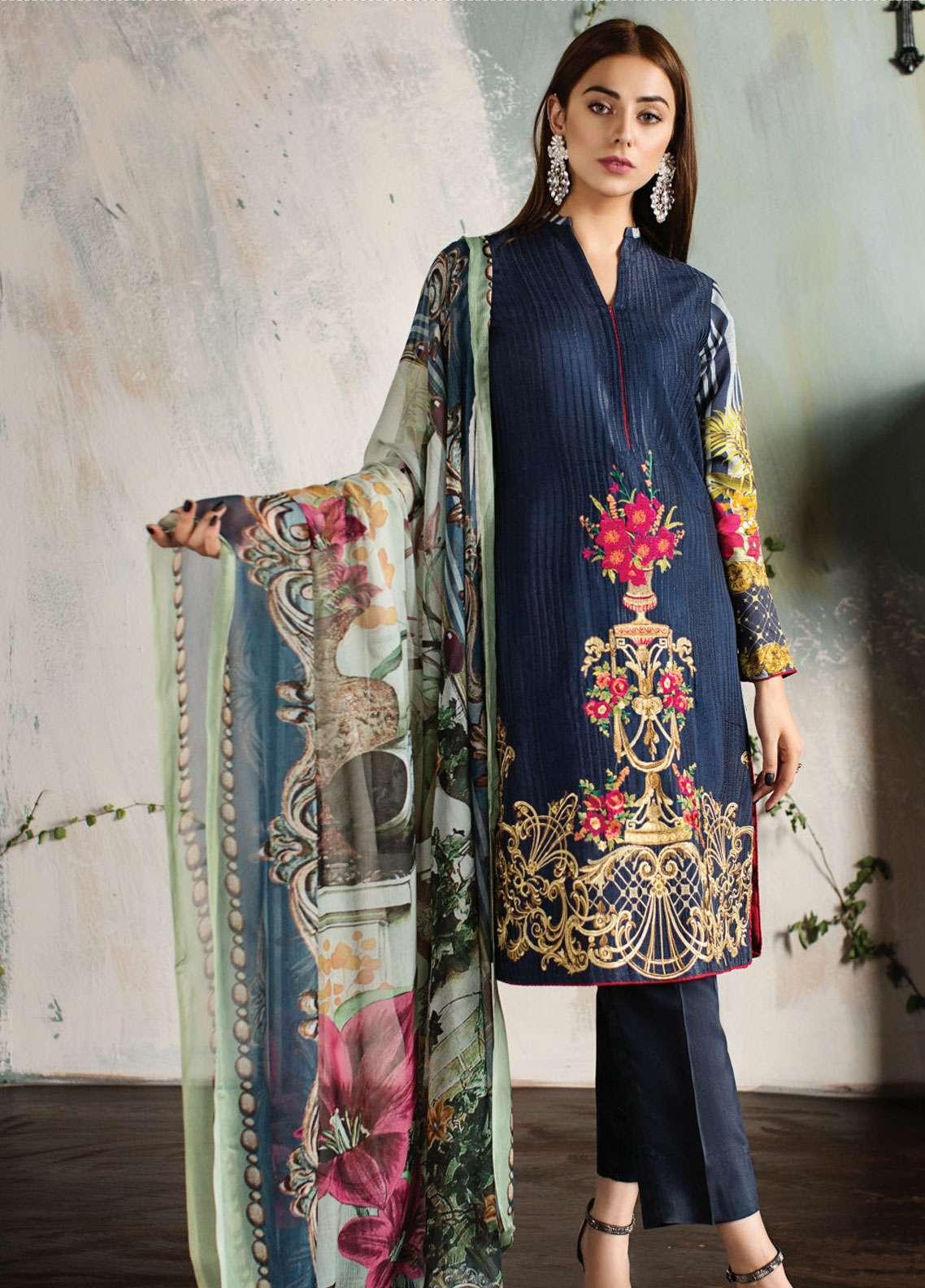 Resham Ghar Embroidered Silk Unstitched 3 Piece Suit RG18DS 07 - Luxury Collection