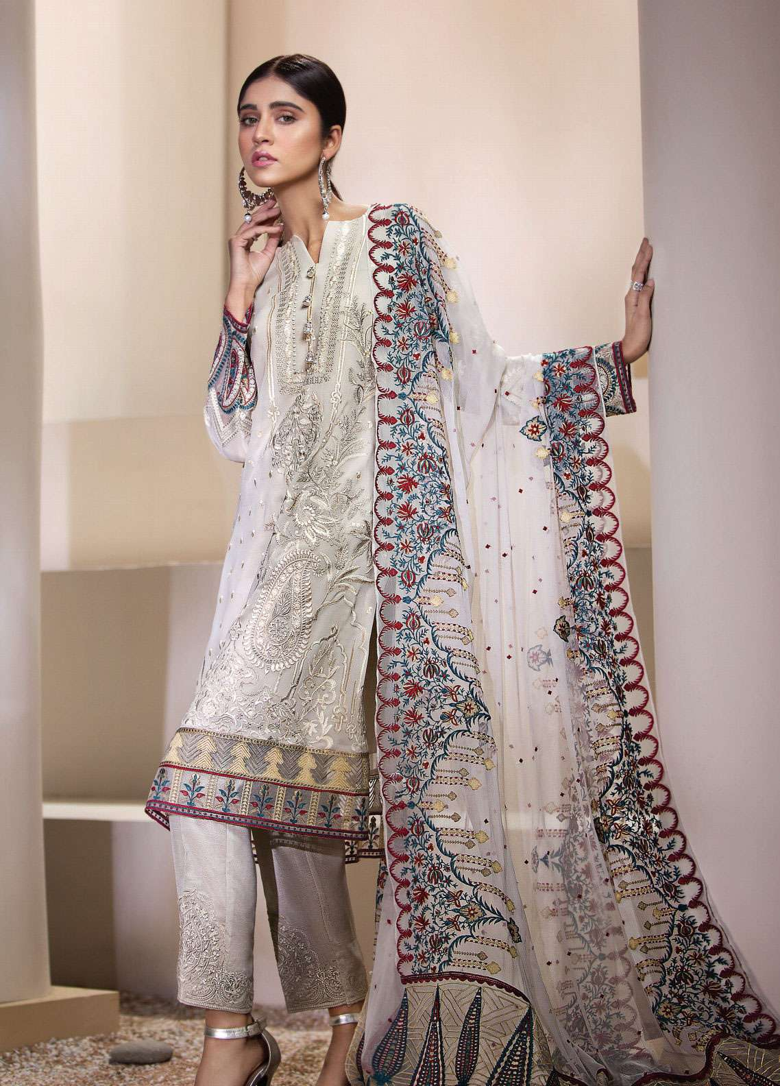 Resham Ghar Embroidered Chiffon Unstitched 3 Piece Suit RGC19LC 02 - Luxury Collection