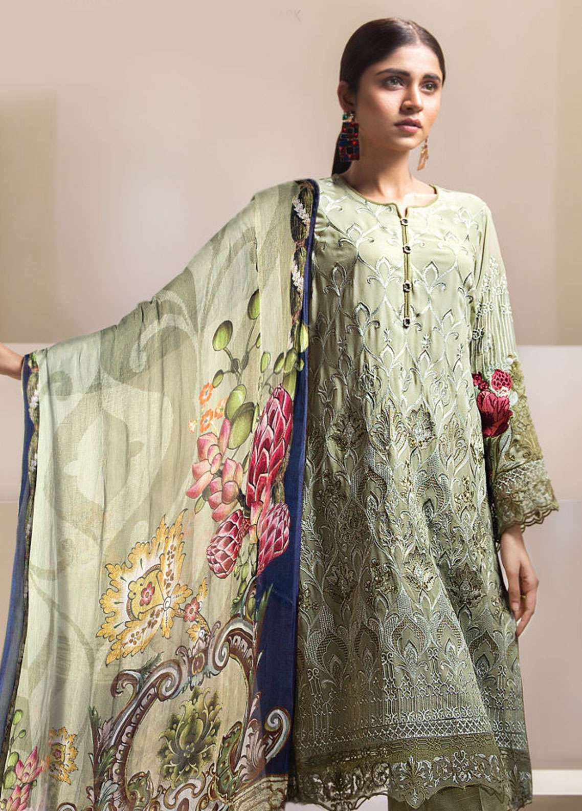 Resham Ghar Embroidered Chiffon Unstitched 3 Piece Suit RGC19LC 04 - Luxury Collection
