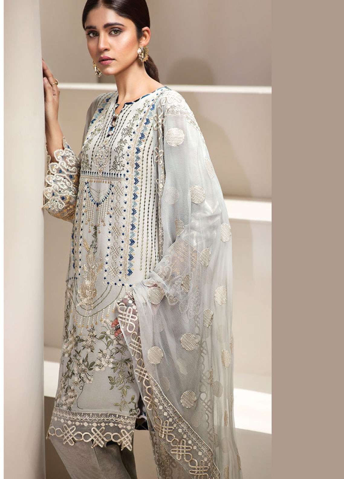 Resham Ghar Embroidered Chiffon Unstitched 3 Piece Suit RGC19LC 05 - Luxury Collection
