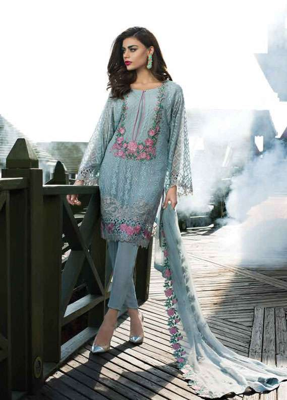 Reemal Khan Embroidered Chiffon Unstitched 3 Piece Suit RK18C 05