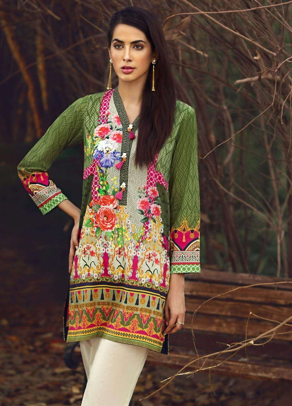 LimeLight Printed Cambric Unstitched Kurties ROSEWOOD DUSK (GREEN) - Cambric Collection