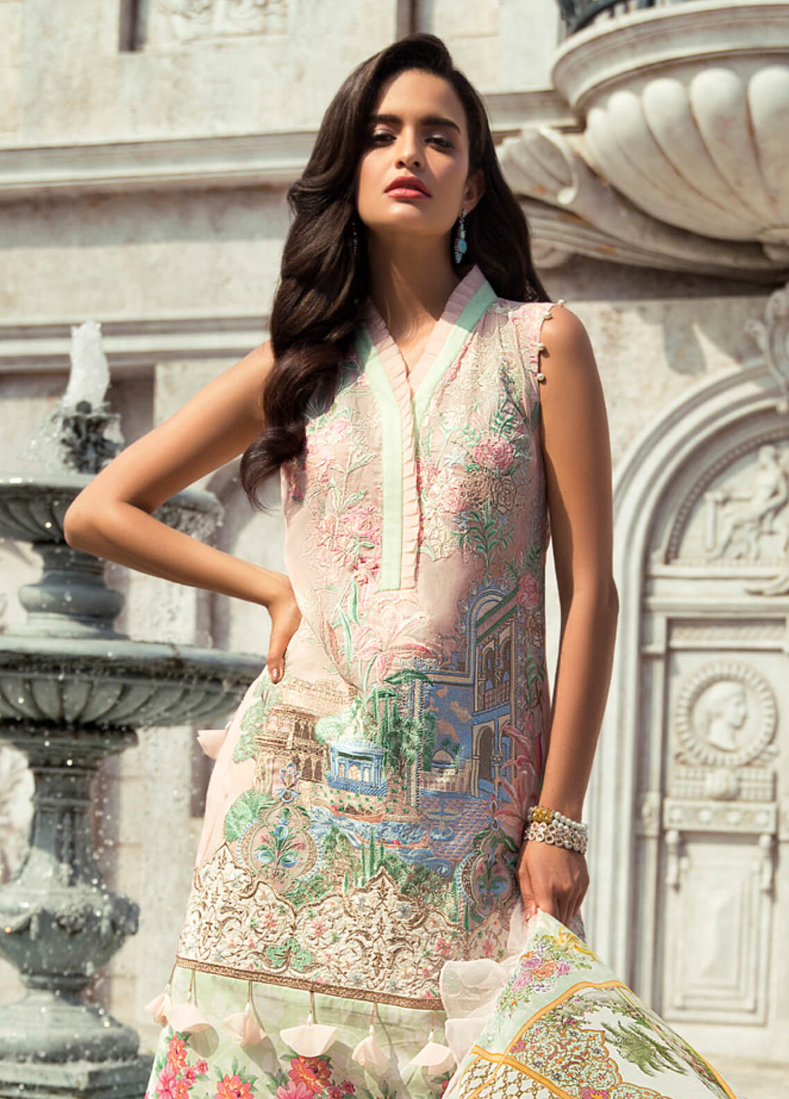 Rouche Embroidered Lawn Unstitched 3 Piece Suit RCH19L 1 GARDENIA - Festive Collection