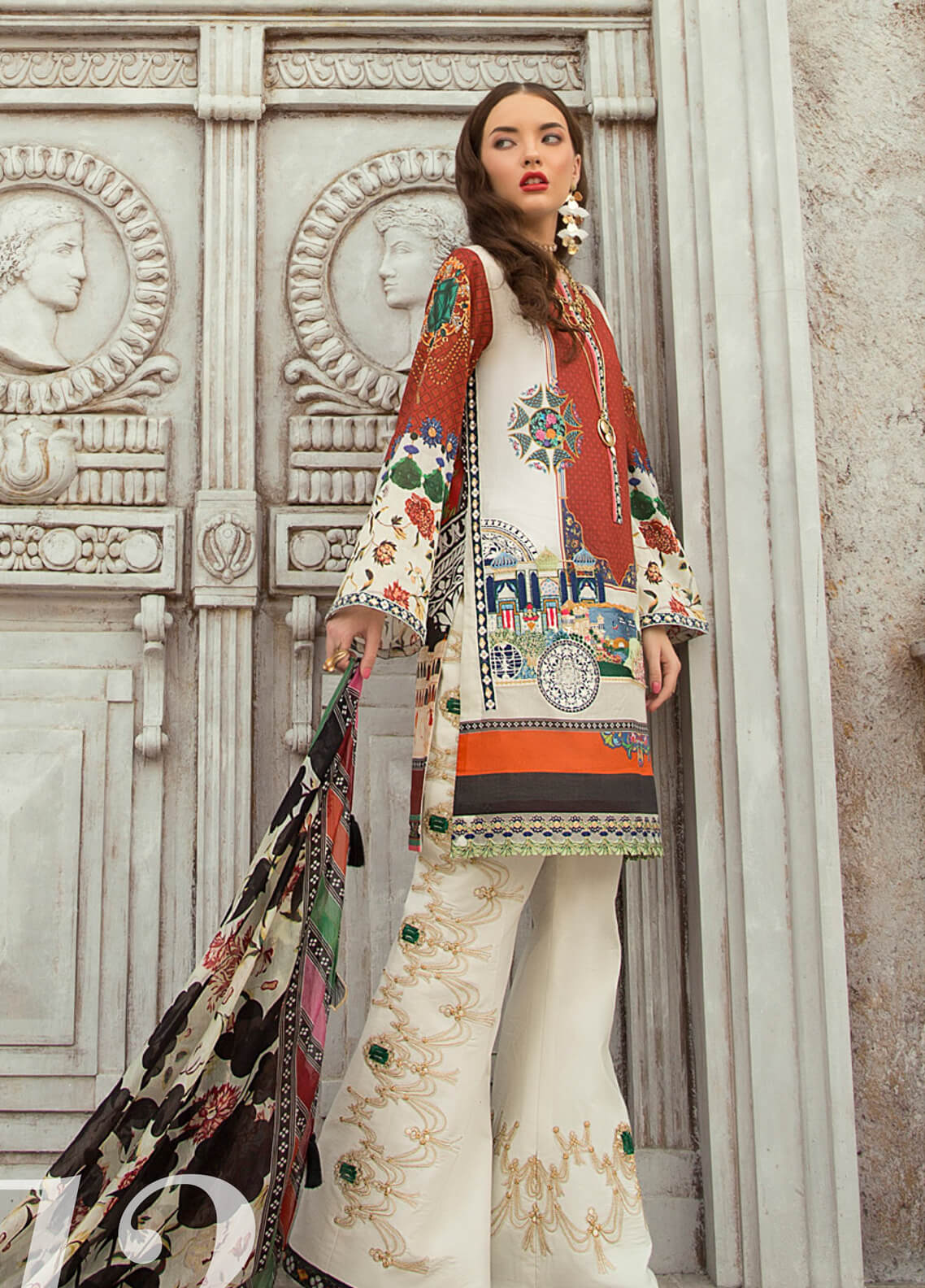 Rouche Embroidered Lawn Unstitched 3 Piece Suit RCH19L 12 HIGH LIGHTS - Festive Collection