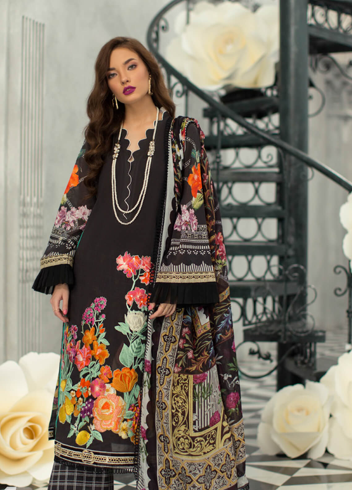 Rouche Embroidered Lawn Unstitched 3 Piece Suit RCH19L 4 FLOWER PALACE - Festive Collection