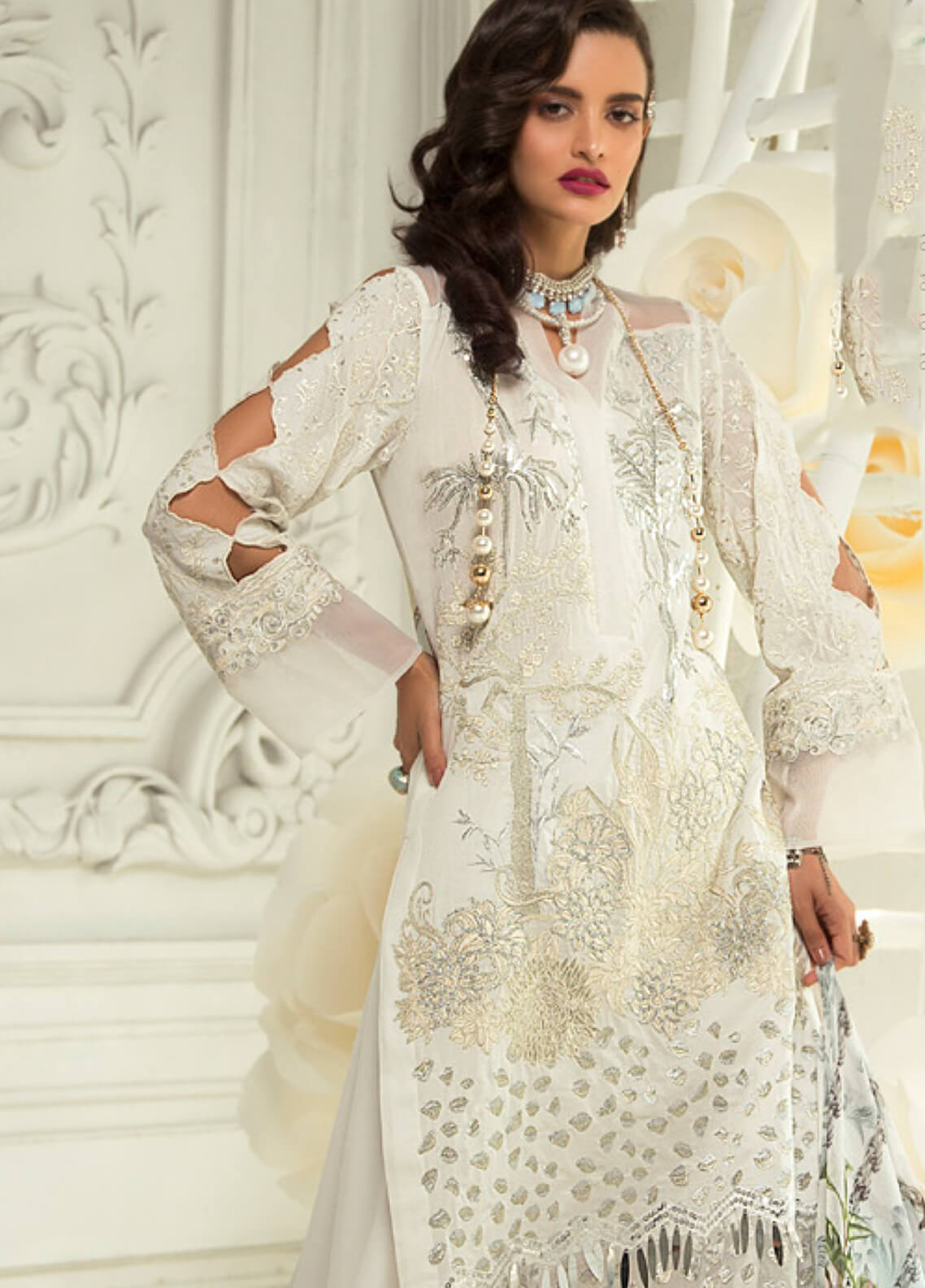 Rouche Embroidered Lawn Unstitched 3 Piece Suit RCH19L 7 SHIMMER STONE - Festive Collection