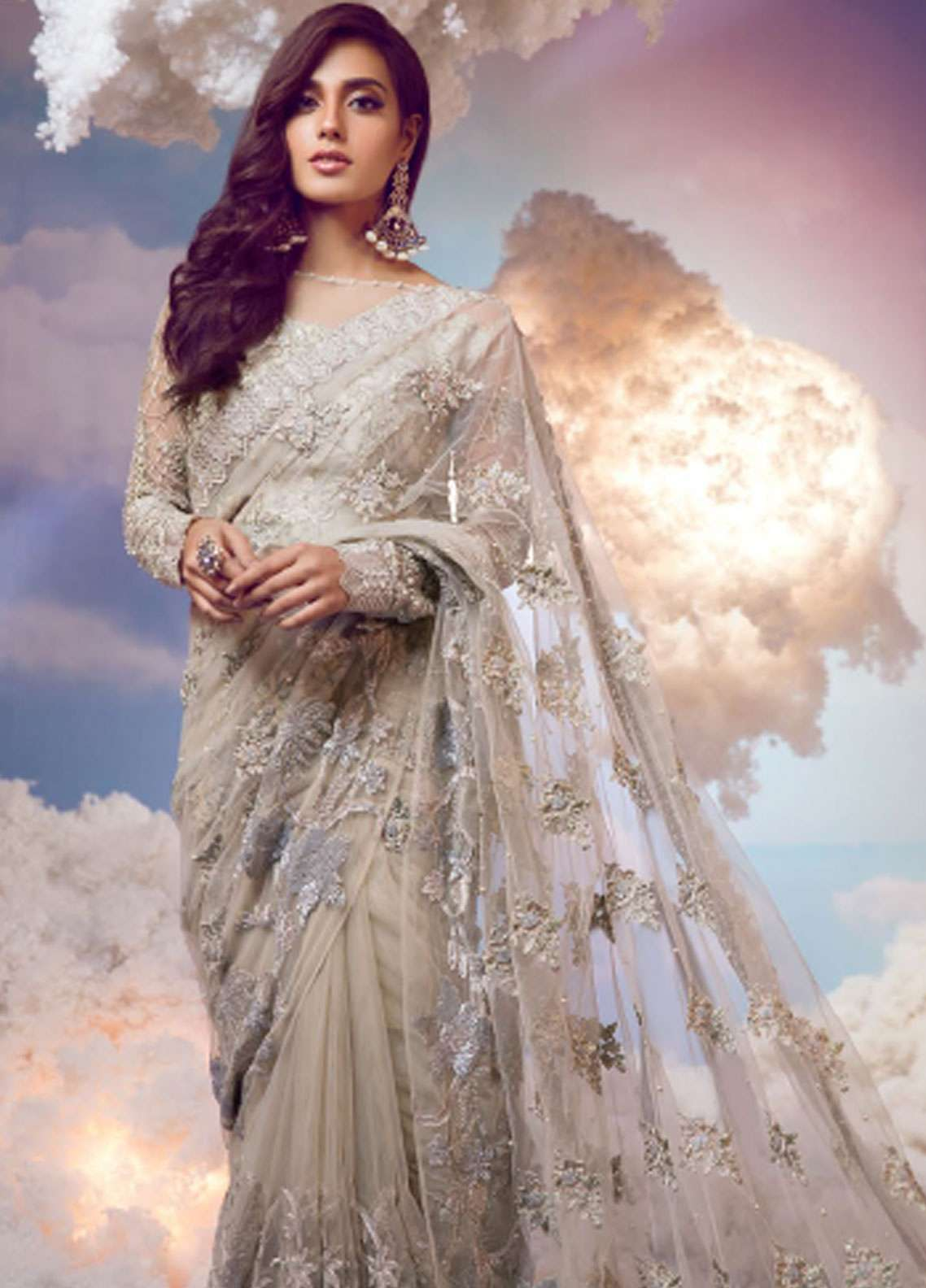 Shiza Hassan Embroidered Chiffon Unstitched Saree SH18W-Royal-Heritage - Festive Collection