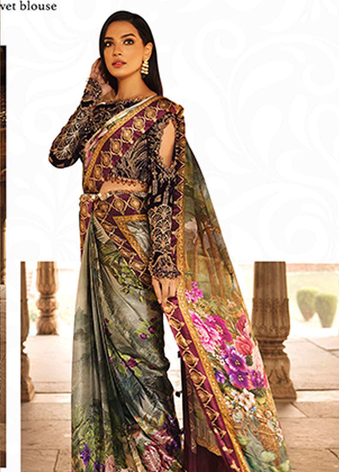 Rungrez Embroidered Chiffon Unstitched Saree RNG18CP 2 Firdous - Luxury Collection