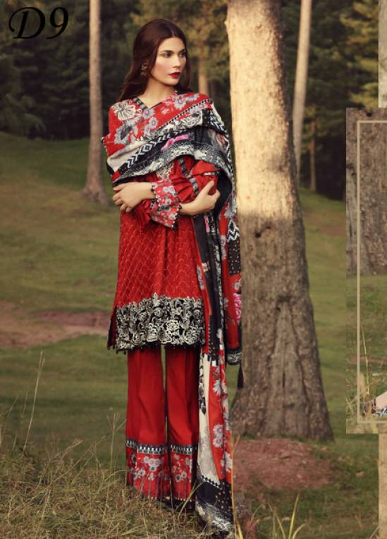Noor by Saadia Asad Embroidered Marina Unstitched 3 Piece Suit SA17W 09