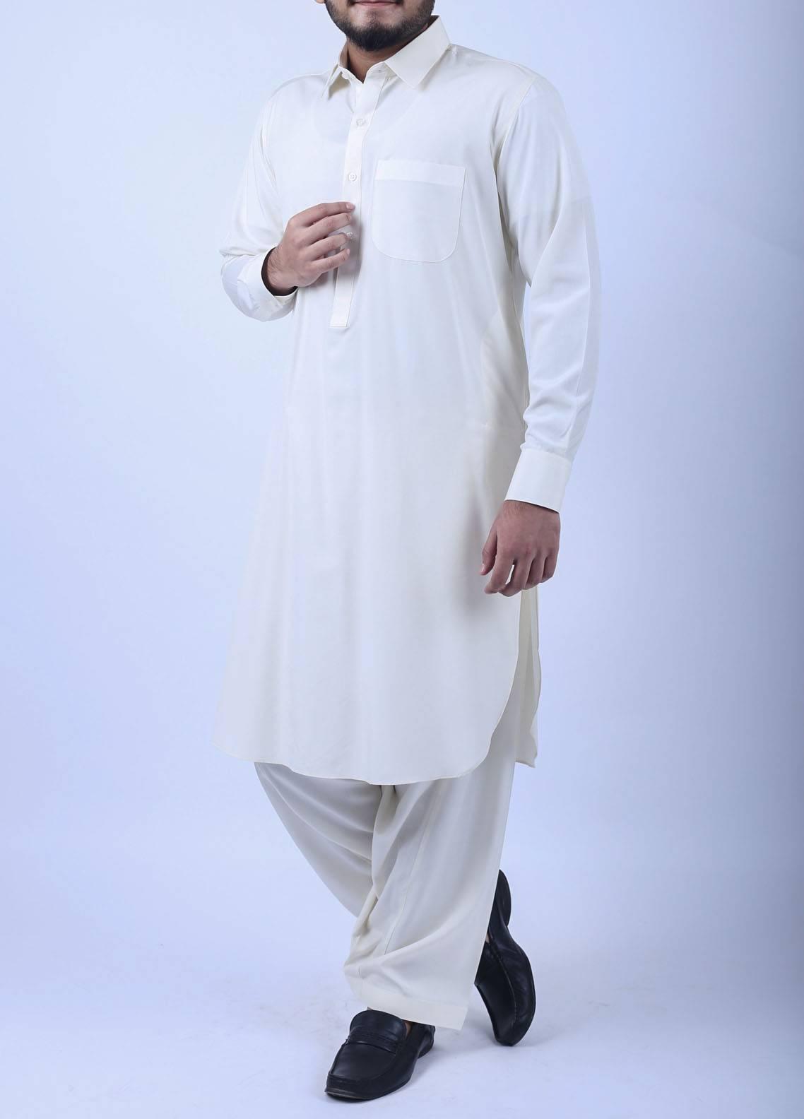 Sanaulla Exclusive Range Boski Plain Texture Kameez Shalwar for Men - Off White SA18SH 001