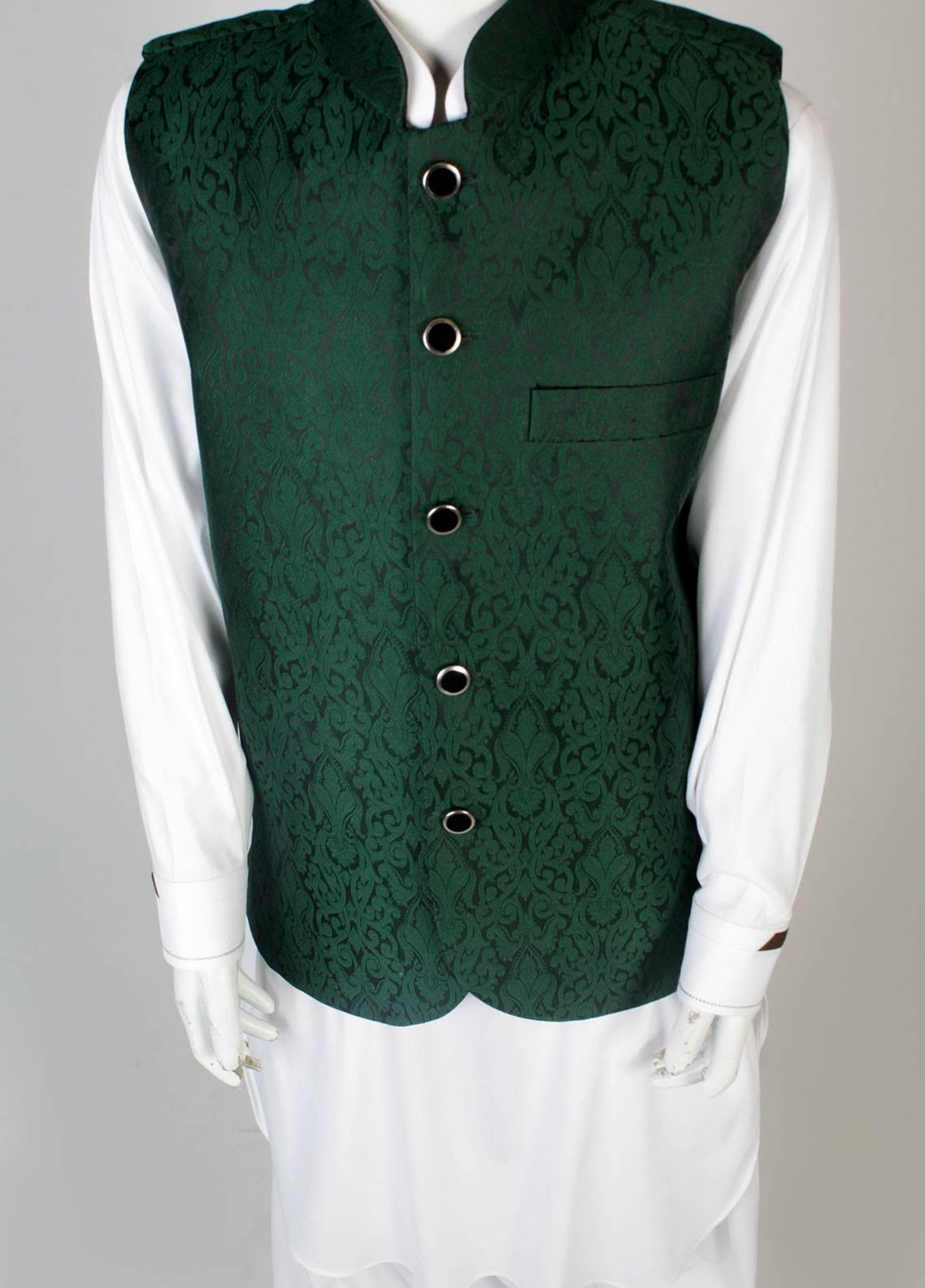 Sanaulla Exclusive Range Banarsi Fancy Waistcoat for Boys - Green SA18W 001