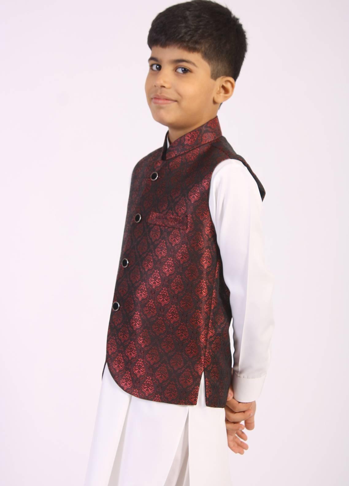 Sanaulla Exclusive Range Jamawar Fancy Waistcoat for Boys - Maroon SAB18W 004