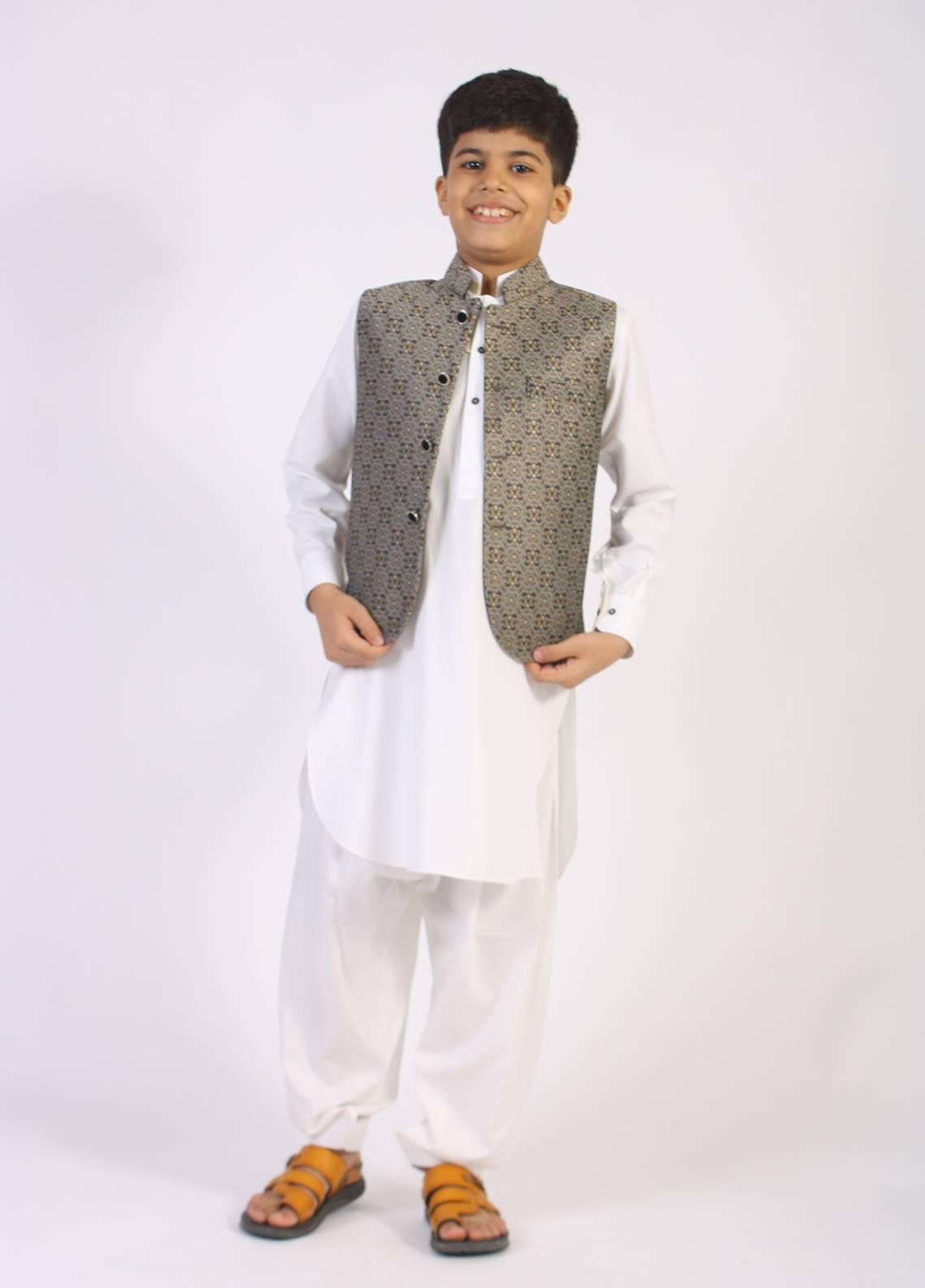 Sanaulla Exclusive Range Jamawar Fancy Waistcoat for Boys - Silver SAB18W 006