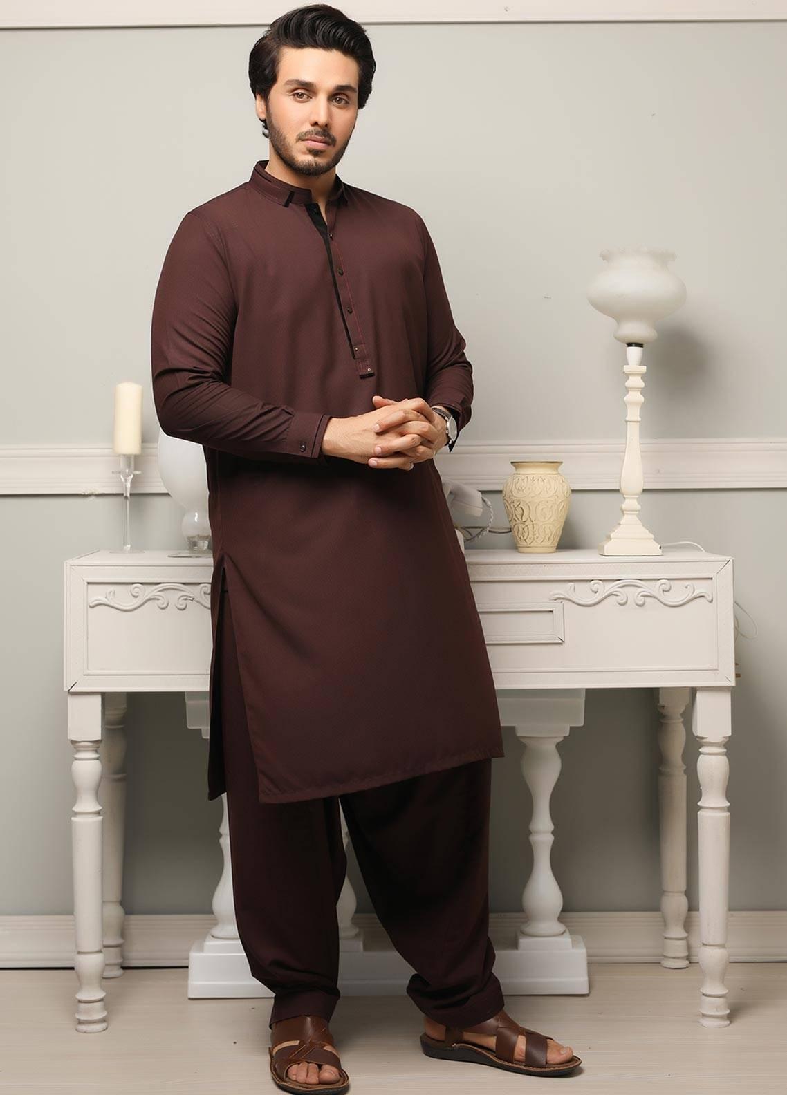 Safeer by Edenrobe EMUB18-PLATINUM Blended Unstitched Men's Kameez Shalwar Fabric