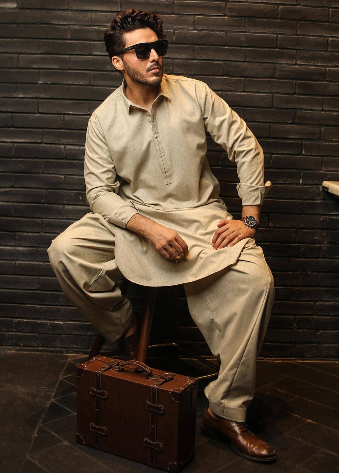 Safeer by Edenrobe EMUB18W-OPAL Blended Unstitched Men's Kameez Shalwar Fabric