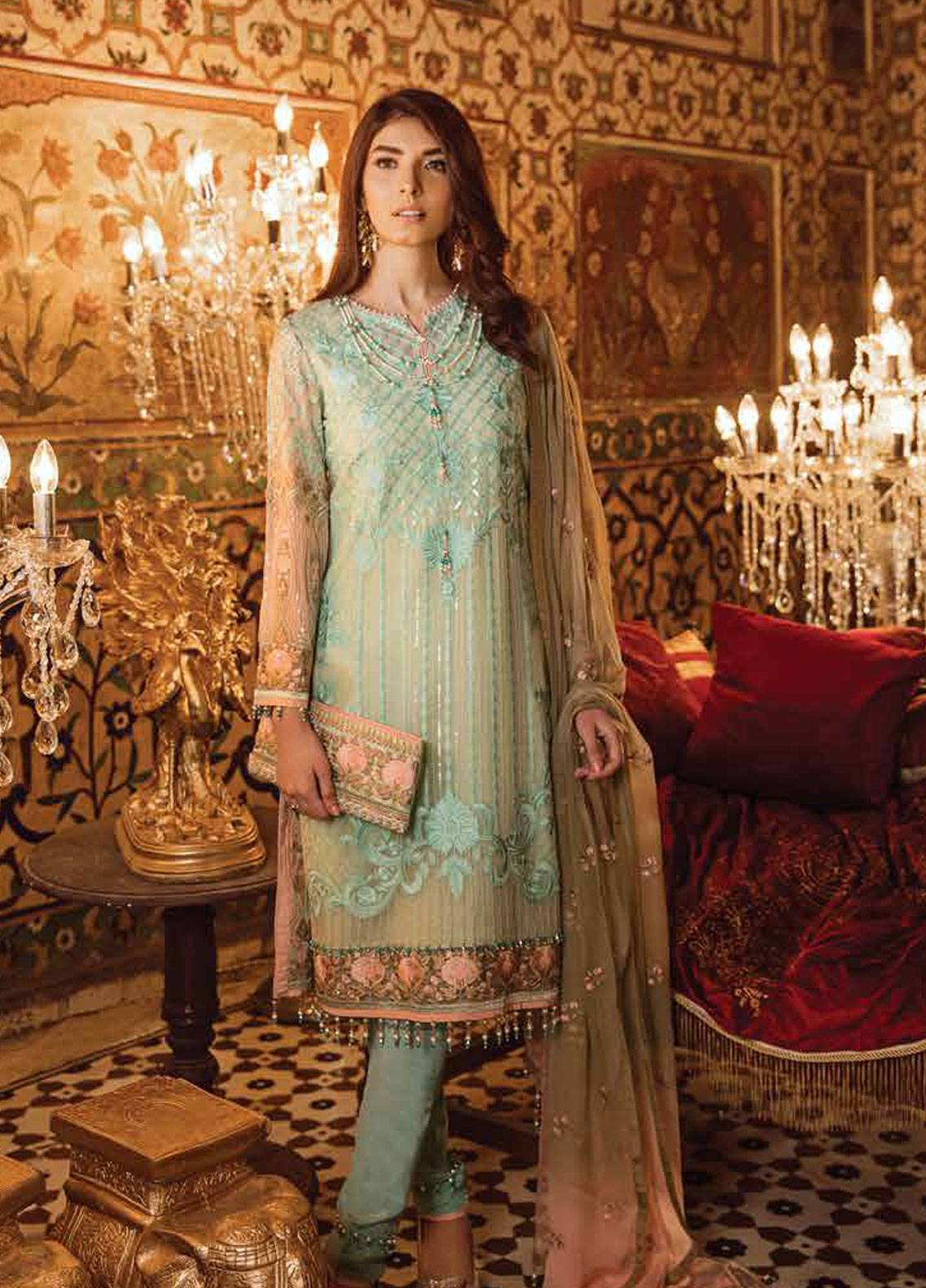 Safeera by Flossie Embroidered Chiffon Unstitched 3 Piece Suit SFR19ECC 02 - Luxury Collection