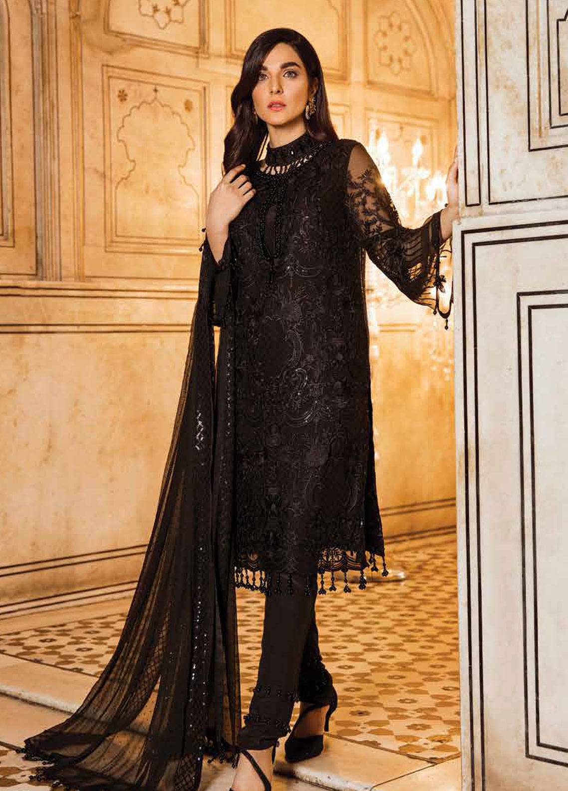 Safeera by Flossie Embroidered Chiffon Unstitched 3 Piece Suit SFR19ECC 04 - Luxury Collection