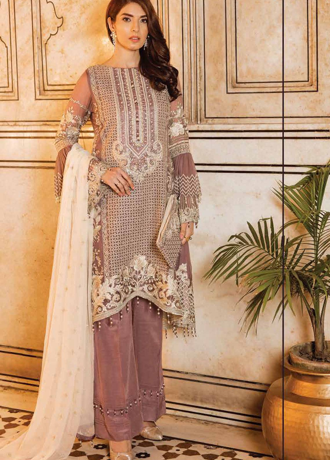 Safeera by Flossie Embroidered Chiffon Unstitched 3 Piece Suit SFR19ECC 08 - Luxury Collection