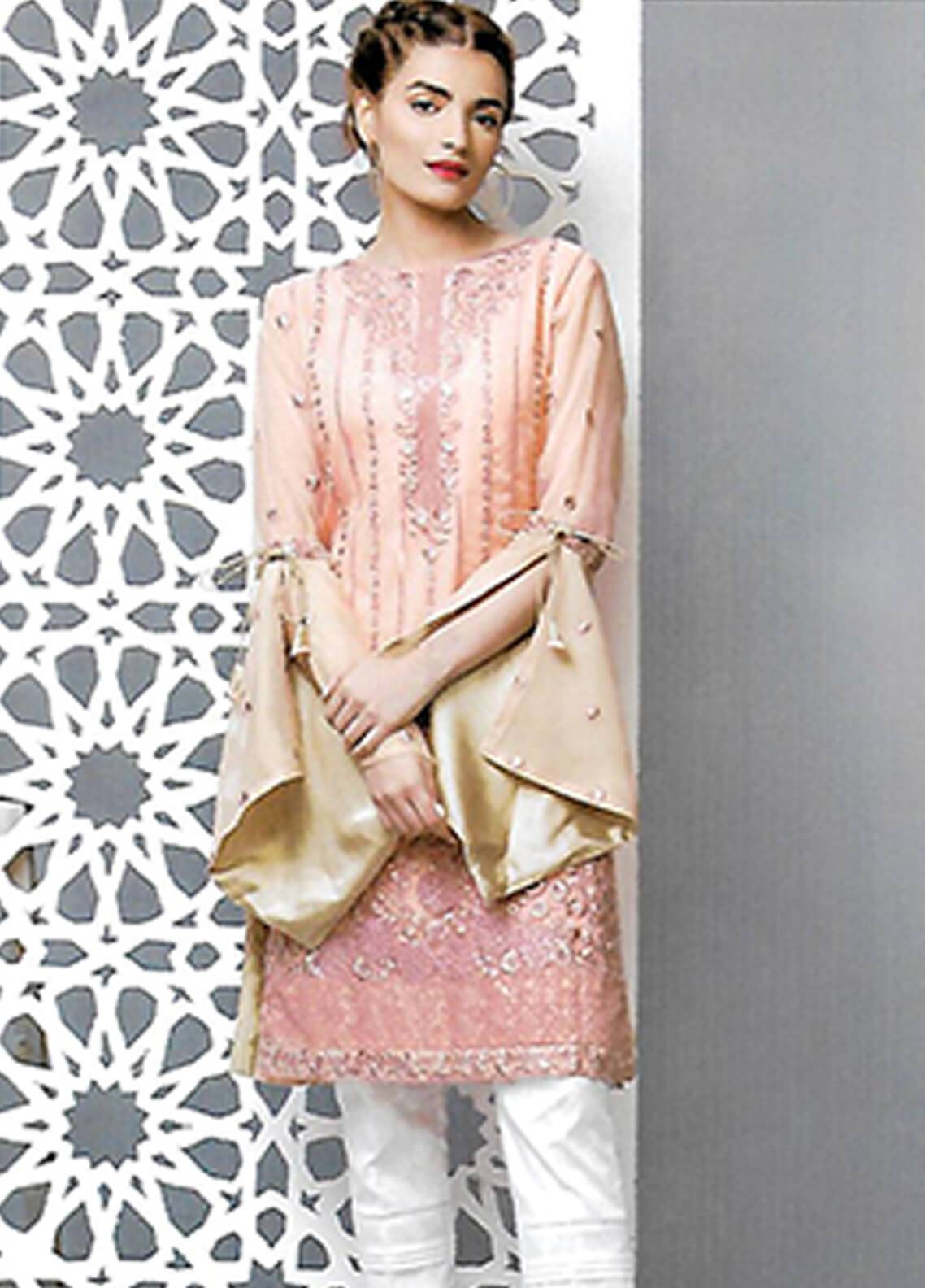 Sahil By ZS Textiles Embroidered Chiffon Unstitched Kurties SE18KC 02 - Mid Summer Collection