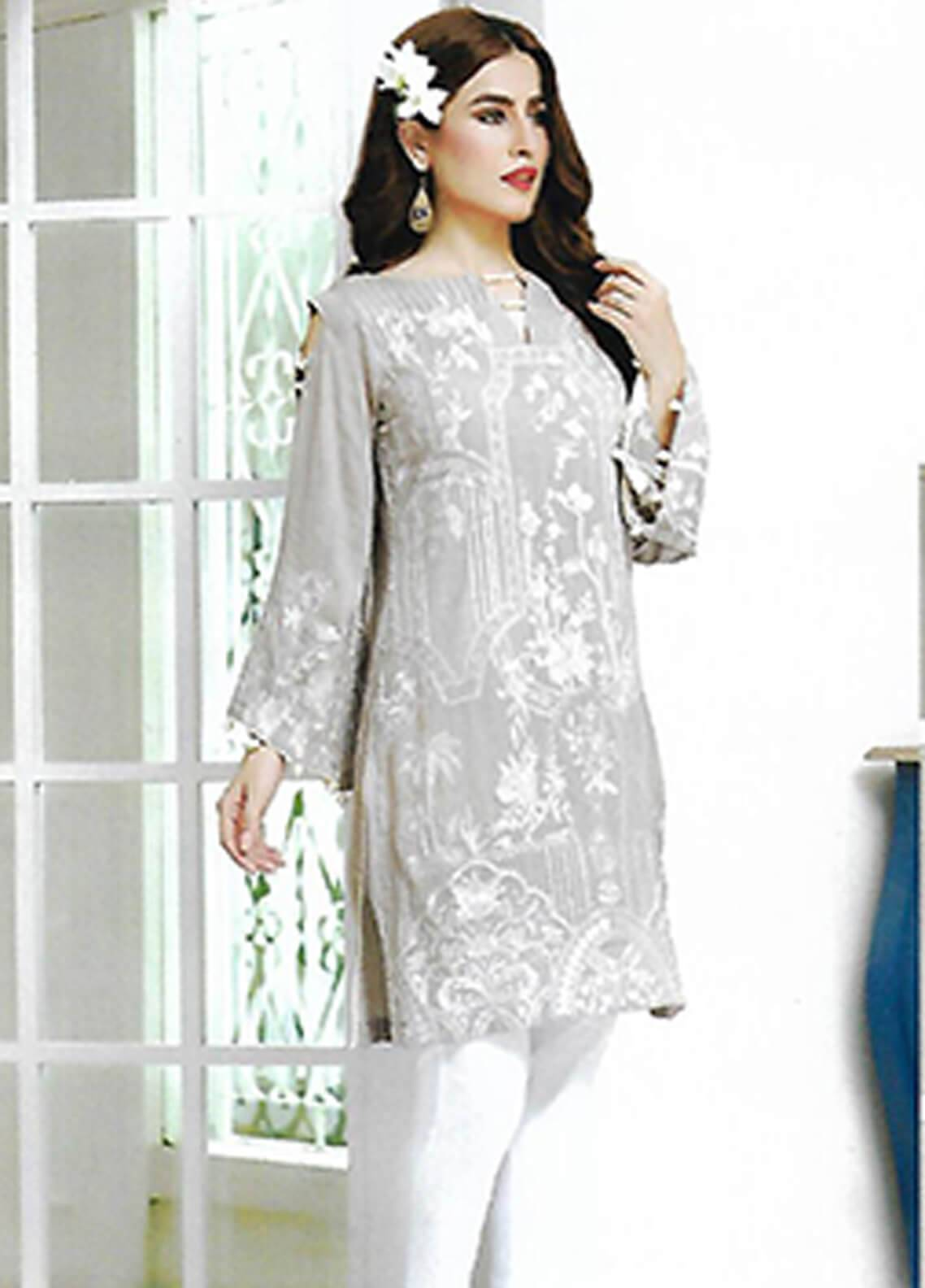 Sahil By ZS Textiles Embroidered Chiffon Unstitched Kurties SE18KC 03 - Mid Summer Collection