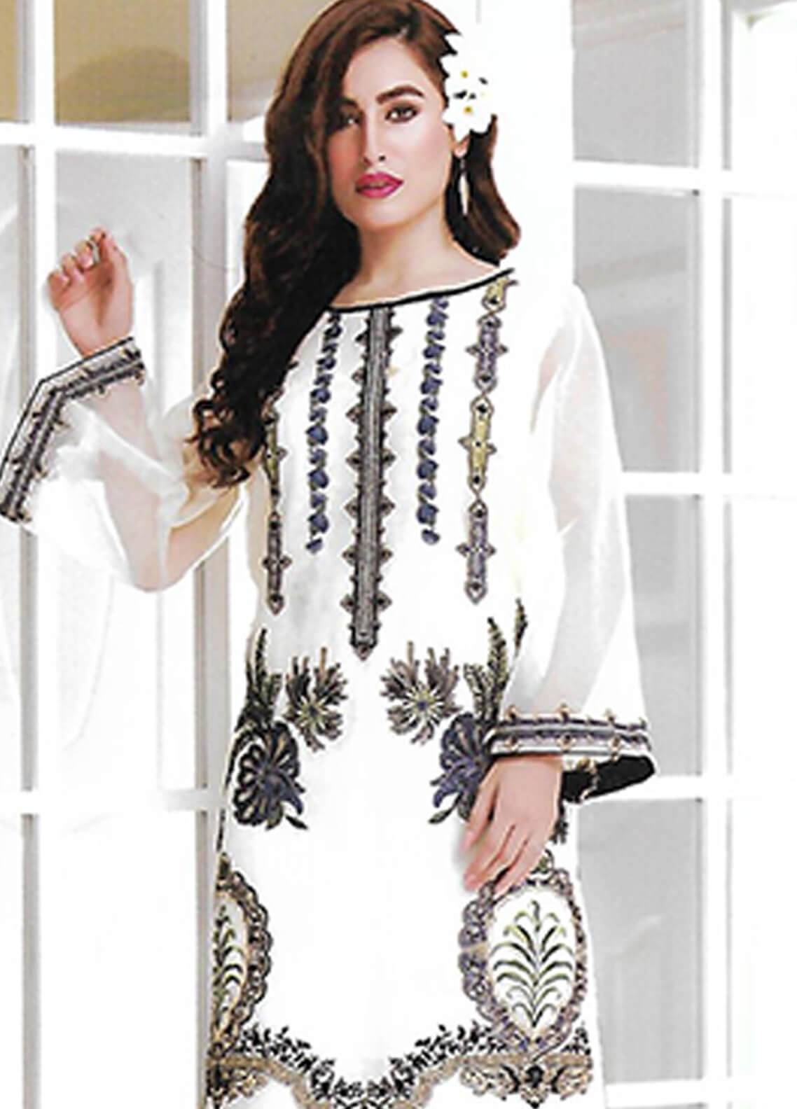 Sahil By ZS Textiles Embroidered Chiffon Unstitched Kurties SE18KC 05 - Mid Summer Collection